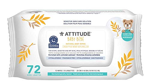 ATTITUDE Sensitive Skin, Hypoallergenic Disposable Baby Wipes, Fragrance Free, 72 Wipes Dispenser
