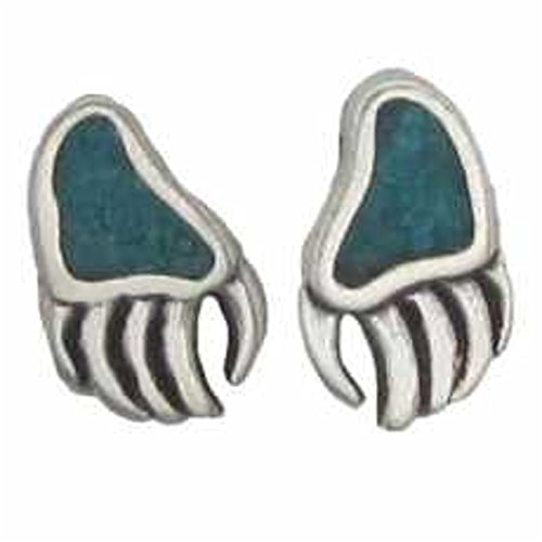 Sterling Silver Blue Turquoise Chips Bear Claw Post Stud Earrings ()