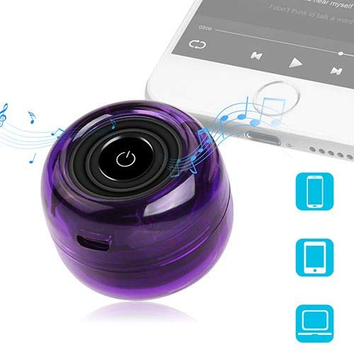 Wireless Speakers, Crystal Portable Mini Speaker with 3.5mm Aux Audio Jack Plug in Clear Bass Micro USB Port Audio Dock for Smart Phone, for iPad, Computer (Purple)