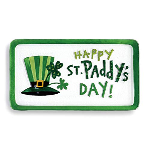 Happy St. Paddy's Day Shamrock Green 15 x 8 Glass St. Patrick's Platter ()