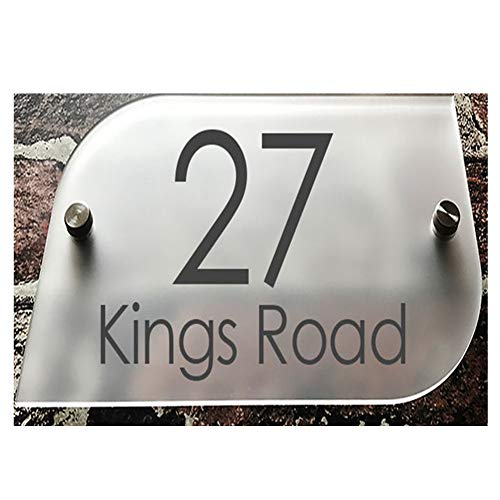 200MM×140MM Custom-Made Modern House/Hotel Street Name Sign Plaque Door Number Full Frosted Glass Effect Acrylic Name (Curved 4#)
