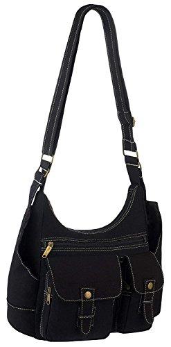 2 Black Vintage Design Shoulder Multi Canvas Urban Body Messenger Cross Pocket Bag wPa1vASqw