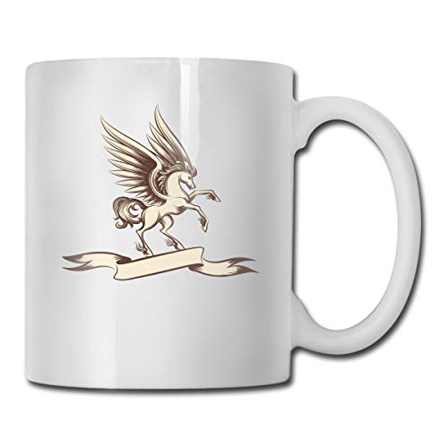 - Vintage Pegasus with Wings and Ribbon Mug New Custom Coffee Cup Teacup White Porcelain Cup,Suitable for Home, Office Use-17 Ounces