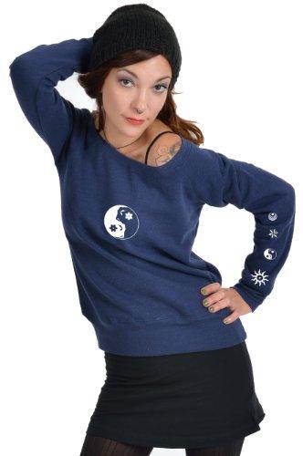 Yin Sudadera Yang Manga Larga Blanco Azul Elfo Estampa Sueter Amplio Para De Mujer 3elfen Cuello U8q7Z