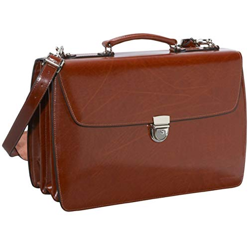 Jack Georges Mens [Personalized Initials Embossing] Elements Triple Gusset Flap Over Briefcase in Cognac