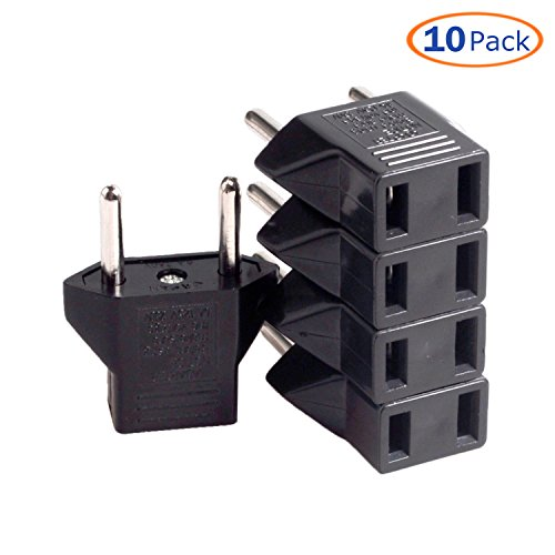 Conwork 10-Pack US USA to EU Euro Europe Power Jack Wall Plug Converter Travel Adapter (Electric Converters For Europe)