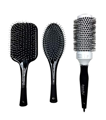 (iBeauty 3PC Essential Hair Brush Collection Natural Boar Bristle Nylon Pin Paddle Hair Brush 1 3/4