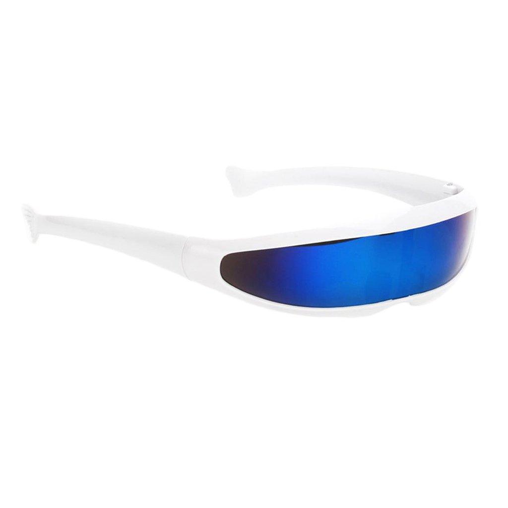 SM SunniMix Pack of 5 Blue Futuristic Cyclops Mirrored Sunglasses Narrow Shield Party Eyewear