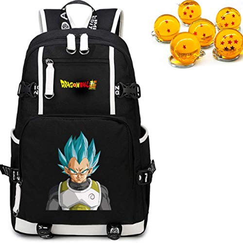 Skootz Anime Dragon Ball Z Cosplay Bookbag Bundle | School Kids Backpack w/Durable Straps | Includes A FREE Dragon Ball Z 7 Stars Ball Toy DBZ Keychain (Vegeta)
