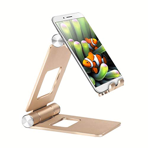 Fwaytech Adjustable and Folding Cell Phone Stand Gold,Portable Phone Tablet Stand Holder for iPhone Xs max XR 8 7 6 Plus,Galaxy S9 Plus iPad 10.5,Nintendo Switch,Gold Desk Accessories (Gold)