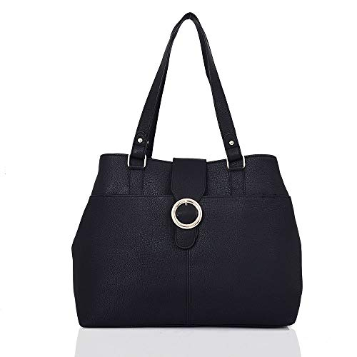 Womens Stylish Tote Shoulder Bag Ladies Handbag Black