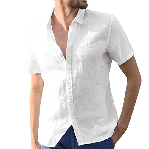 Linen Shirts for Men Short Sleeve Big and Tall Baggy Solid Button Down Retro T Shirts Tops Blouse White