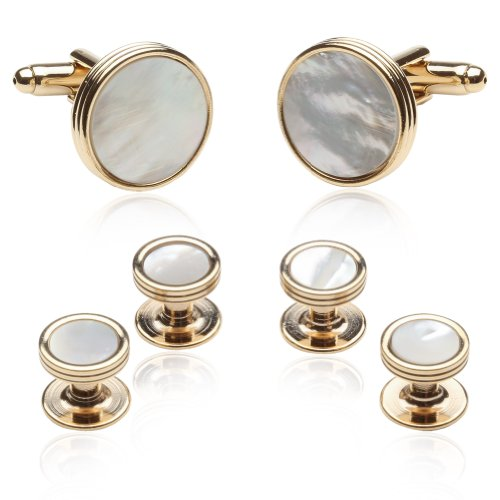 Cuff-Daddy Mother of Pearl and Goldtone Tuxedo Cufflinks and Studs Formal Set with Presentation Box