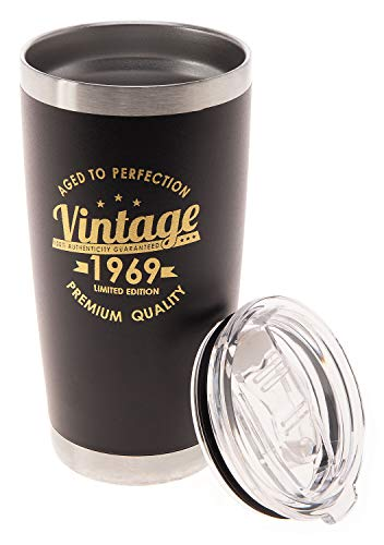 Vintage 1969 50th Birthday Gifts Men Women Insulated Stainless Steel Tumbler | 50 Year Old Presents 20 oz Black | Best Gift for Mom Dad Wife Husband | 50th Party Decorations Supplies (1969 Black)