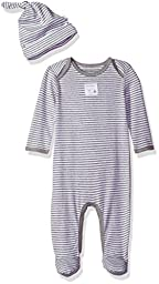 Burt\'s Bees Baby Baby Organic Lap Shoulder Coverall and Knot Top Hat Set, Heather Grey Stripe, 0-3 Months