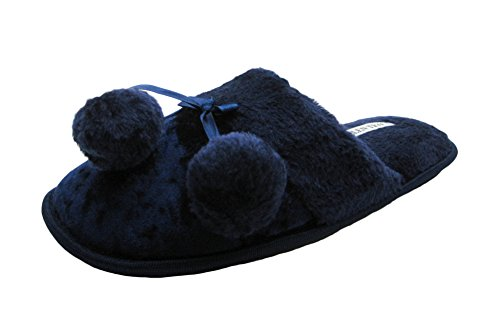Velvet Ladies House Slippers w/ Pompom & Faux Fur Cuff Navy KDpWFulc