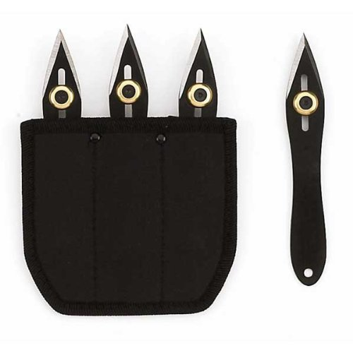 Fury 90010 Throwing Knives Set Black Adjustable Weight - 3 Knives & Sheath