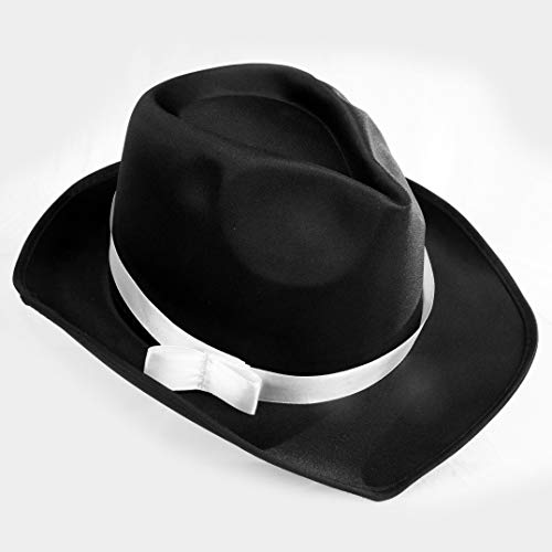 Squirrel Products Black Gangster Fedora Hat - One Size with Elastic Band