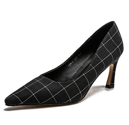 Sandales De Rencontres Talons Chaussures Féminin Bureau Court Noir Stiletto Design Clover a Haute Lucky Grille Talon Satin Pompes Moderne eu38 Mariage qzZOEPxZYw