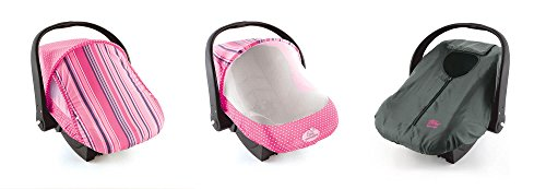 Cozy Combo Pack (Pink Stripe) – 'Sun & Bug Cover' Plus 'Cozy Cover' Infant Carrier Covers - Trusted by Over 5 Million Moms Worldwide – Protects Your Baby from Mosquitos, ()