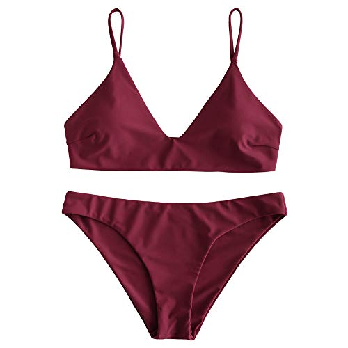 ZAFUL Women's Solid Spaghetti Strap Bralette Bikini Set Two Piece Swimsuit (Wine Red, L)
