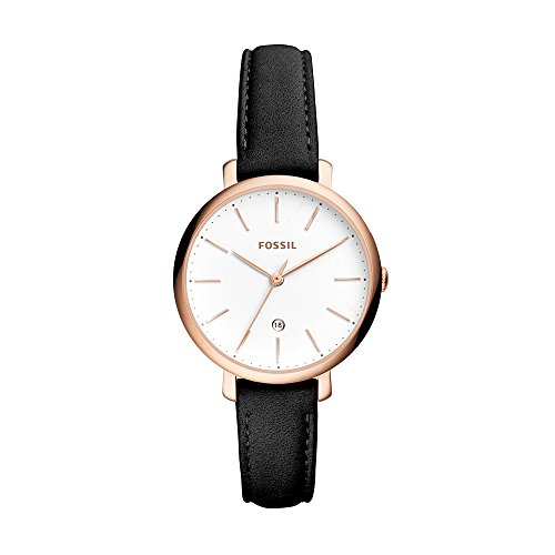 (Jacqueline Three-Hand Date Black Leather Watch)