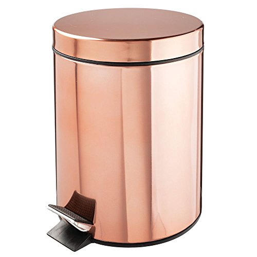 mDesign 5 Liter Round Small Metal Step Trash Can Wastebasket, Garbage Container Bin - for Bathroom, Powder Room, Bedroom, Kitchen, Craft Room, Office - Removable Liner Bucket - Rose Gold