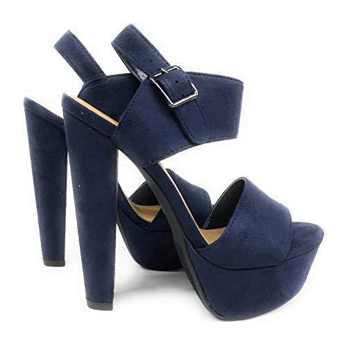 Speed Limit 98 Women's Key Open Toe Ankle Strap Platform Chunky Block Heel Sandal (8 B(M) US, Dark Navy IMSU) ()