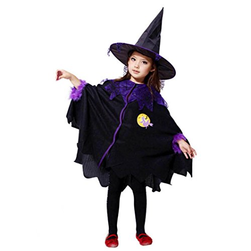 Hot Purple Mini Witch Hat (2017 Toddler Kids Girls Halloween Clothes Costume Witch Cloak Dress + Hat Outfit Set for 2~13T (3-4T, Black))
