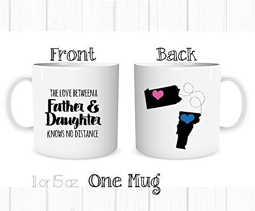 Personalized The Love Between a Father and Daughter Knows No Distance Mug, Long Distance State Coffee Cup, All States and Countries