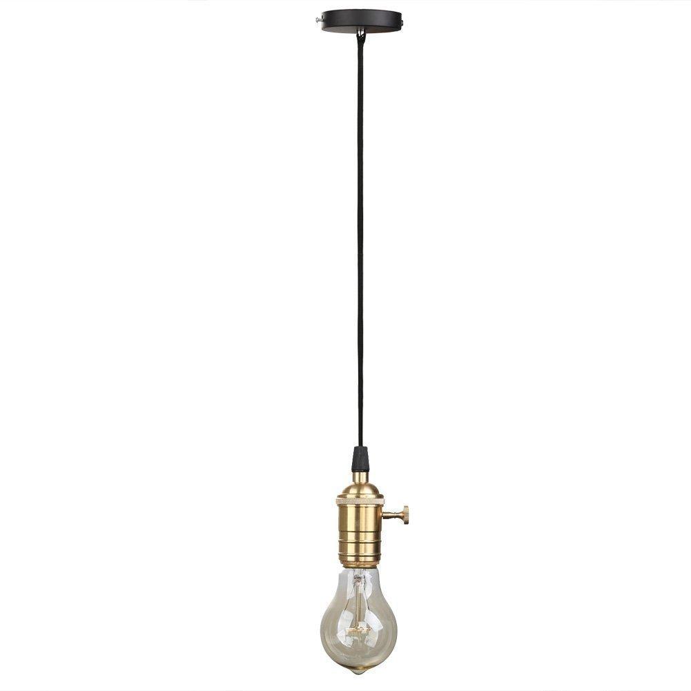 Splink Pendant Light 1m Wire E27 Base Bulb Socket Lamp Holder With Wiring A Keyless Fixture On Off Knob Vintage Industrial Ceiling Rose Lighting