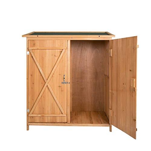 Peach Tree Wooden Outdoor Garden Shed Lockable Storage Unit with Double Doors - Cedar Outdoor Sheds