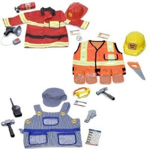 - Melissa & Doug Deluxe Role Play Costume Bundle: Fire Chief, Construction Worker and Train Engineer