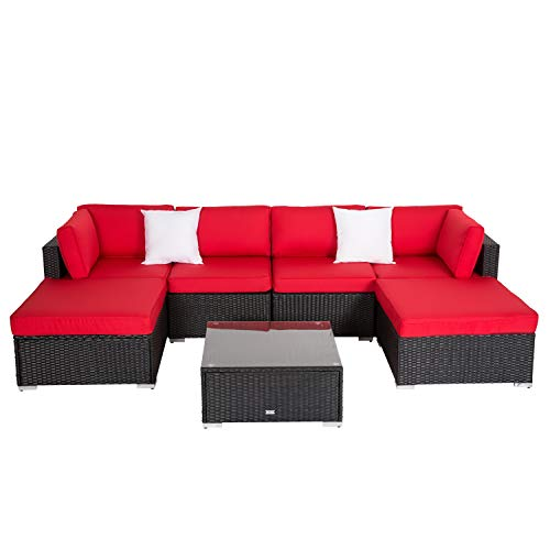 (Kinbor 7PC Outdoor Sectional Sofa Set Rattan Wicker Patio Furniture Sofa with Washable Cushions & Modern Coffee Table Glass Top (Red))