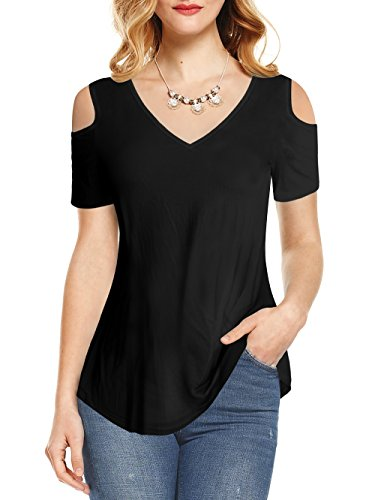 Amoretu Womens Casual Cold Shoulder Short Sleeves Tee Shirts for Summer(Black, M)