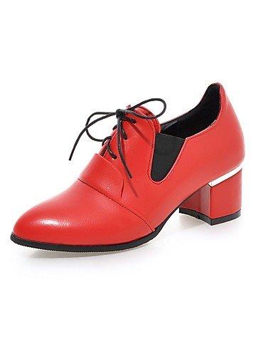 GGX/ Damen-High Heels-Büro / Lässig-PU-Blockabsatz-Komfort / Spitzschuh-Schwarz / Rot black-us10.5 / eu42 / uk8.5 / cn43