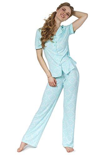 (Cozy and Curious Women's Printed Poly Span Jersey Pajamas (Set of 2) (Large, Soft Aqua))