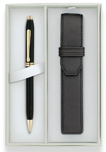 Cross Townsend, Black Lacquer, Ballpoint Pen, with 23K Gold Plated Apppointments & Single Cross Leather Pen Pouch (572/2) Cross Single Pen Pouch