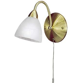 Eglo pasto–Lámpara de pared, casquillo E141x 40W/altura 180cm, brazo de 22,5cm, acero, latón cepillado, cristal alabastro blanco, clase de protección 1, bombilla no incluidas 13315