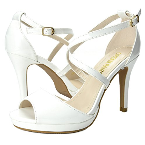 DREAM PAIRS Womens Stiletto Dress Heel Pump Sandals White Pat q5VdPTVB