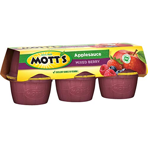 Mott's Mixed Berry Applesauce, 4 oz cups, 6 count (Pack of 12)