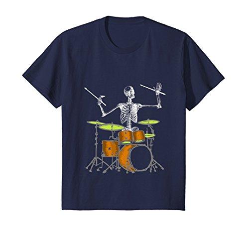 Kids Skeleton Playing Drums - Drummer T Shirt 10 Navy for $<!--$19.99-->