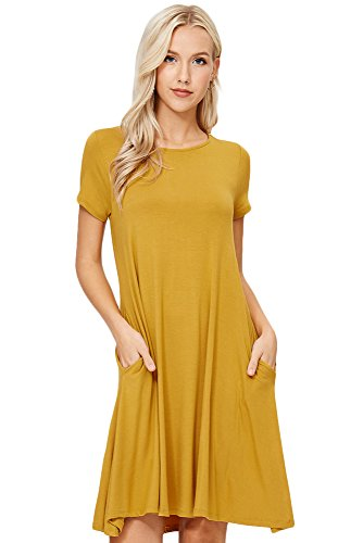Annabelle Women's Solid Round Neck Short Sleeve A-line Mini Swing Dress with Side Pockets Yellow Mustard Small D5213
