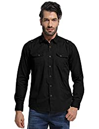 Men's Long Sleeve Military Style Tactical Shirt, Cargo Work Tops