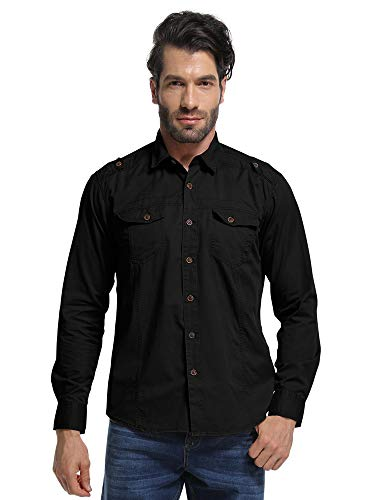 Men's Long Sleeve Military Style Tactical Shirt, Cargo Work Tops Black 2XL