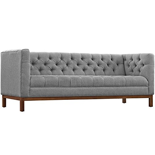 Modway Panache Upholstered Modern Tufted Sofa in Expectation Gray