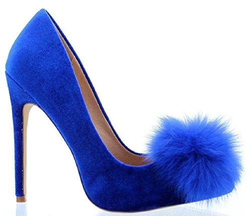 Liliana Affair Velvet Pointy Toe Stiletto High Heel Fur Pom Slip On Pump Slide Shoe Blue 9