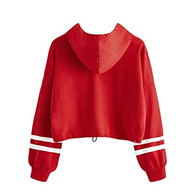 SweatyRocks Women's Letter Print Color Block Long Sleeve Crop Top Hoodies Pullover Sweatshirt at Women's Clothing store