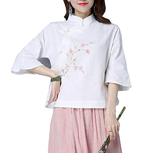 Lady Girls Vintage Linen Shirt Chinese Traditional Mandarin Frog Button Blouse Top White