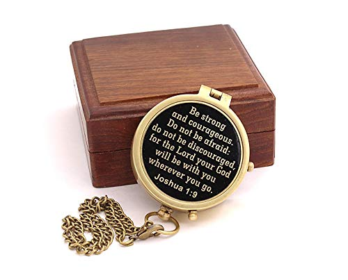 Roorkee Instruments India Be Strong and Courageous Do not be Afraid,Engraved Compass W/Wood Case, Confirmation Gift Ideas, Baptism Gifts (Best Theme For Christening)